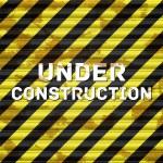 Steel striped grunge door shutter. Under construction — Stock Vector #36309023