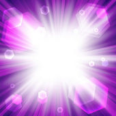 Bright purple background with a sun burst — Stock Vector