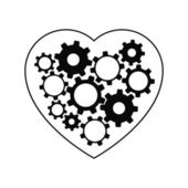 Heart with gears inside. Vector illustration — Stock Vector