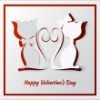 Happy valentine's day greeting card with two cats — Stok Vektör