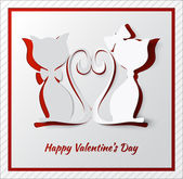 Happy valentine's day greeting card with two cats — Stock Vector