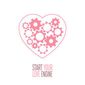 Heart with gears inside — Stock Vector