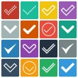Set of icons, ticks, check marks — Stock Vector