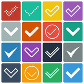 Set of icons, ticks, check marks — Vector de stock