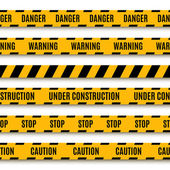 Set of yellow warning tapes — Stock Vector