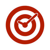 Red target conceptual clock icon — Wektor stockowy
