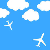 Abstract background with airplanes and clouds — Stockvector