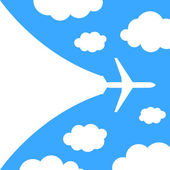 Abstract background with airplane and clouds — Stock Vector