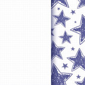 Abstract background with hand drawn stars — Vettoriale Stock
