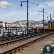 Yellow tram in Budapest — Stock Photo