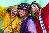 Young street clowns — Stock Photo