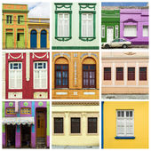 Collage of colorful house and windows — Stock Photo