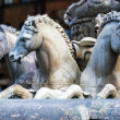 Horses of Neptune fountain in Florence — Stock Photo