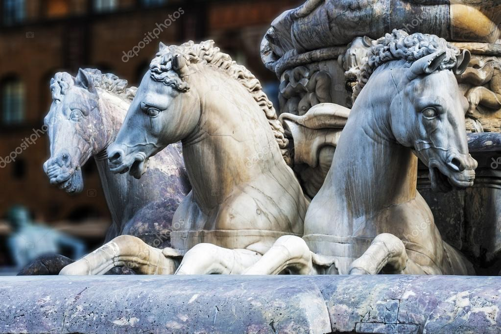 Detail of horses of the Neptune fountain, in Florence, Italy. The fountain was commissioned in 1565 and is the work of the sculptor Bartolomeo Ammannati — Stock Photo #18185585