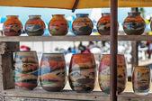 Sand Art in glasses — Stock Photo