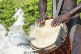 Musician playing drum — Stock Photo