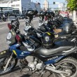 Police motorcycle in row — Stock Photo