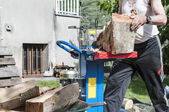 Man cuts firewood — Stock Photo