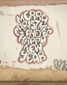 Christmas greetings, spray painted, on wall. — Stock Vector