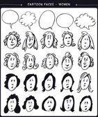 Cartoon faces- women — Stock Vector