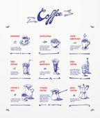 Coffee menu. Blue pen drawings — Stock Vector
