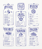 Menu template. Blue pen drawing. Appetizers, vegetables,salads, seafood, pizza, pasta. — Stock Vector