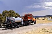 Highway Tar Spreader — Stock Photo
