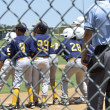 Little League baseball team at home plate — Stock Photo