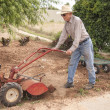 Stock Photo: Eighty Nine Year Old Farmer Plowing