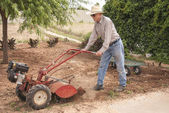 Eighty Nine Year Old Farmer Plowing — Stock Photo