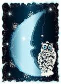 Polar sneeuwuil op de maan. — Stockvector