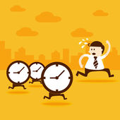 Business man run from the clocks — Stock Vector