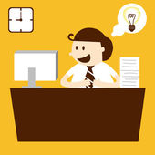 Business man working in table in working hour — Stock Vector