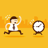 Business man run follow the clock — Stock Vector