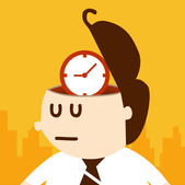 Business man thinking about time — Stock Vector