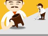 Business man putting golf to boss target — Stock Vector