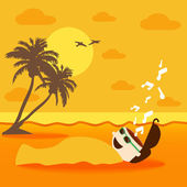 A Man Laying On The Beach With Sand Treatment — Stock Vector