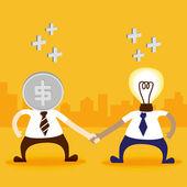 Money and light bulb man shake hand — Stock Vector