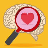 Heart inside brain — Stock Vector