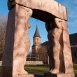 Kant s cathedral and sculptural arch in Kaliningrad - Stock Photo