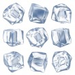 Ice cubes - isolated on white background — Stock Photo