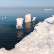 Ice-covered breakwater. Baltic sea — Stock Photo