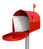 Red classic mailbox with mail — Stock Photo