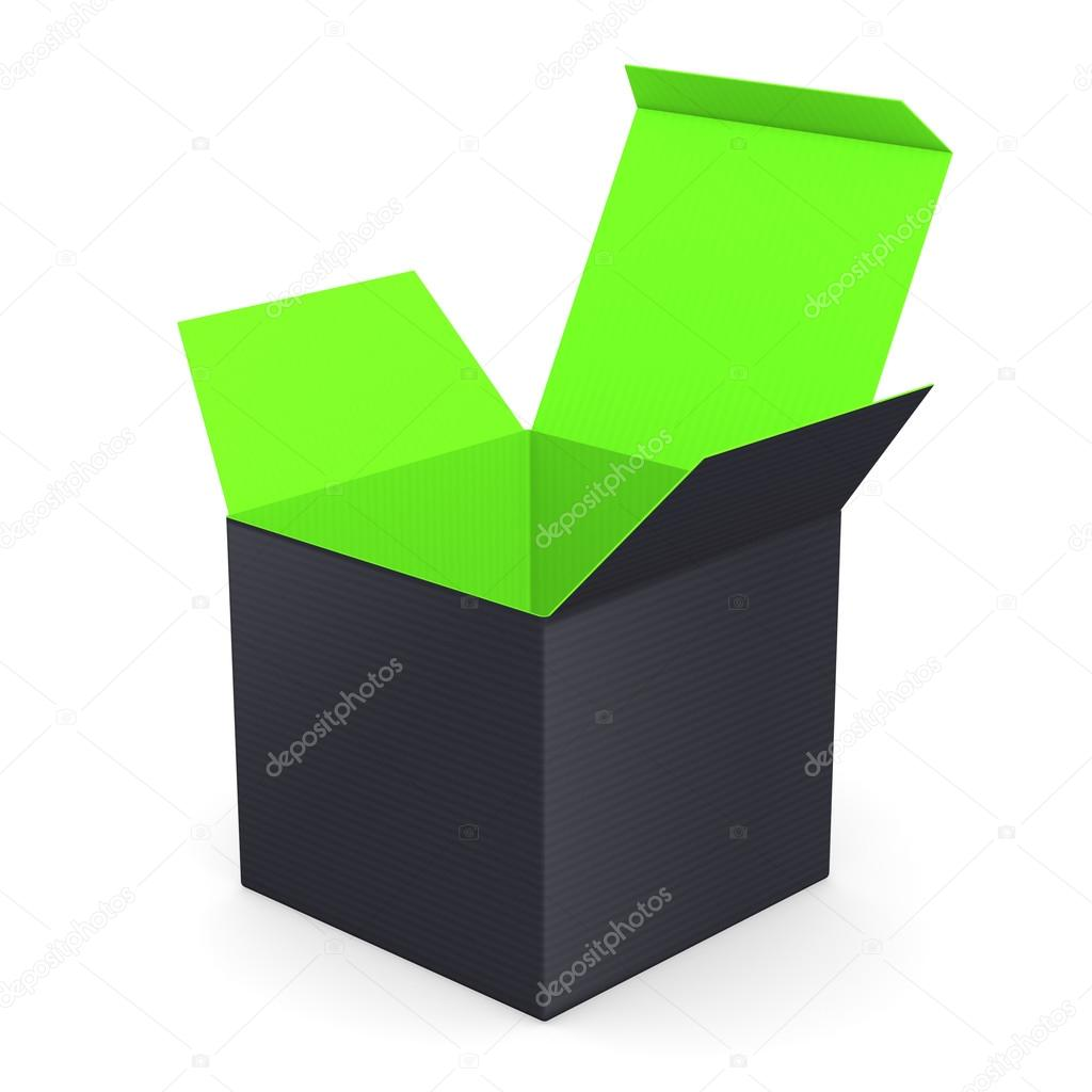 Black opened box with color inside — Stock Photo #19813489