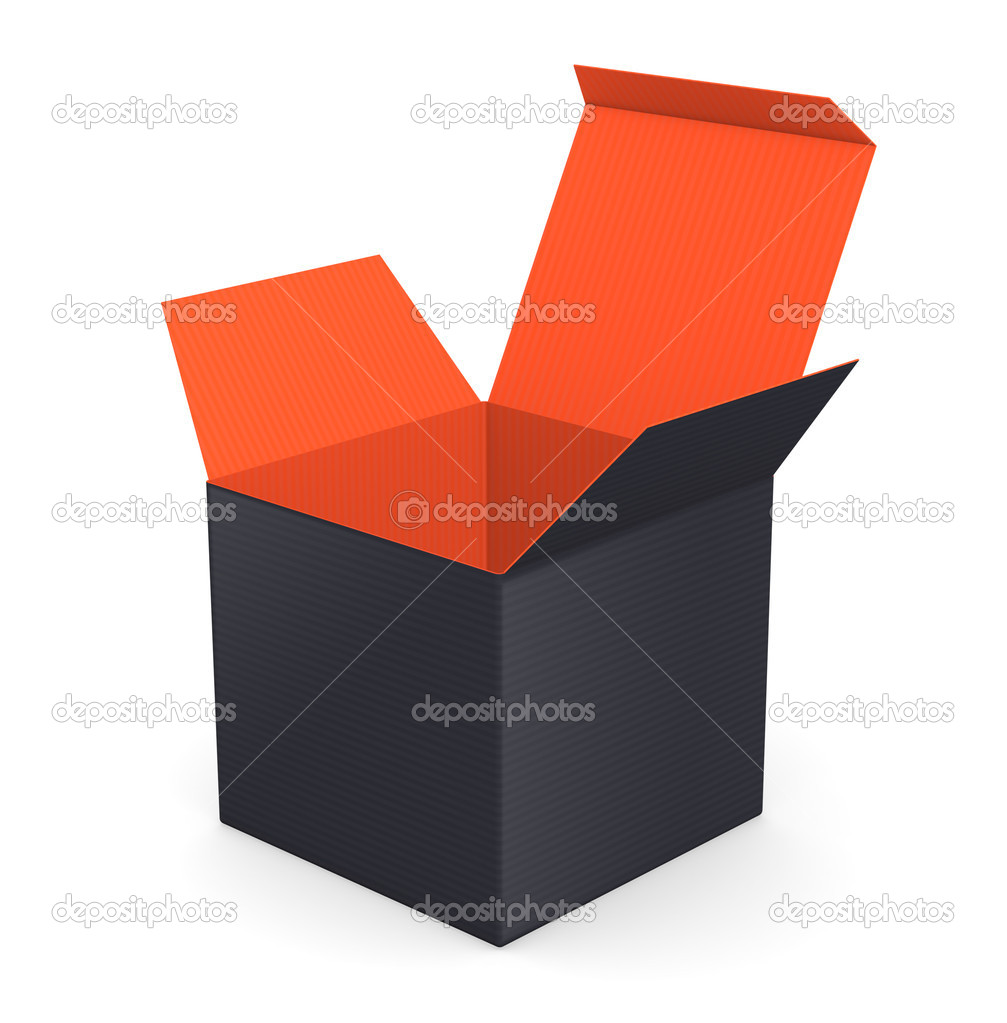 Black opened box with color inside — Stock Photo #19813491