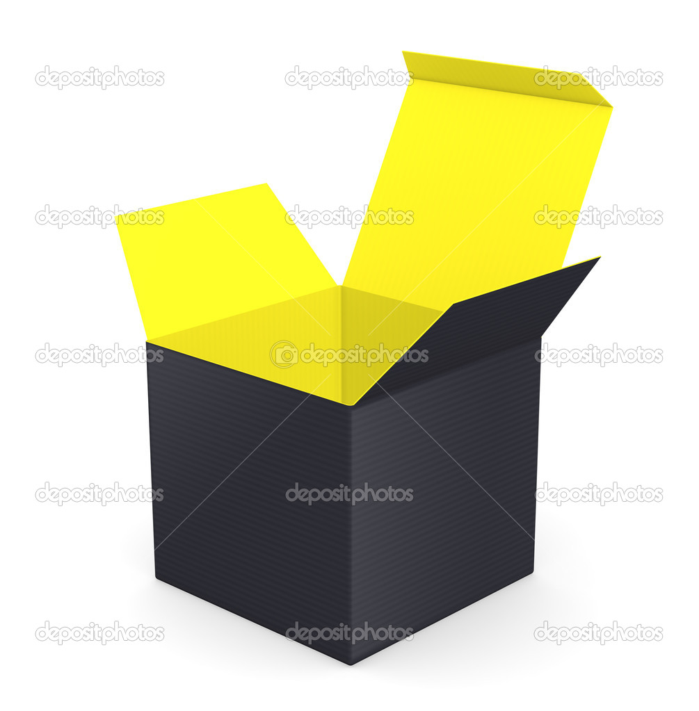 Black opened box with color inside — Stock Photo #19813497