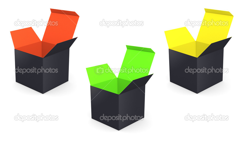 Set of black opened box with color inside - isolated  Stock Photo #19813505
