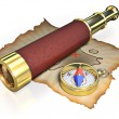 Stock Photo: Compass, spyglass and old map