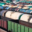 Stock Photo: Railway tanks for mineral oil and other cargoes at shunting yard