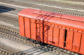 Freight car in shunting yard — Stock Photo